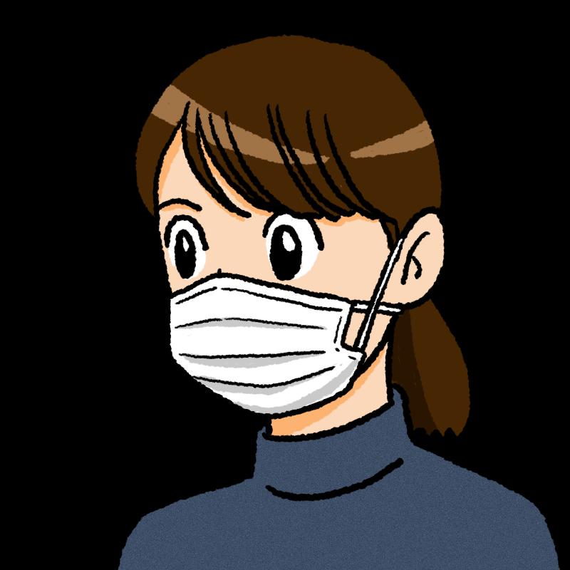 夏マスクの女性のイラスト