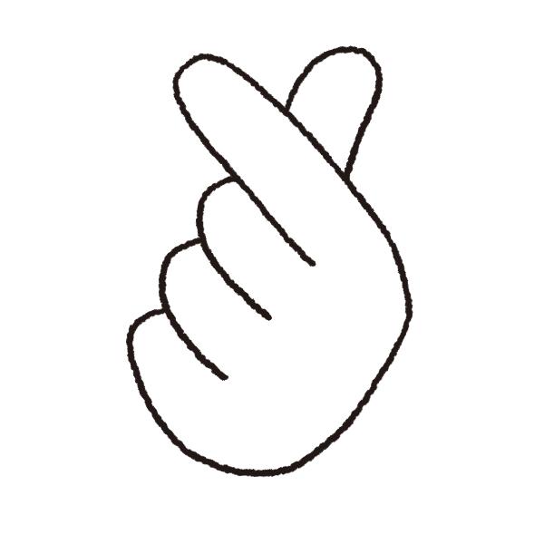 指ハート(線画)